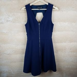 Adelyn Rae Blue Dress Sz S Front Zip fit & Flare